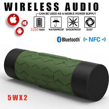 GREEN Waterproof Stereo Wireless Bluetooth 5200mAh Power Bank OUTDOOR SPEAKER 5W