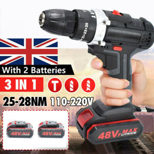 48VF 21V Cordless Impact Electric Drill Screwdriver With 2 Batteries 1 Charger