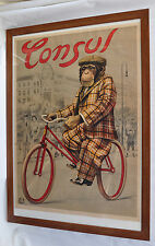 Consul Fahrräder - altes großes Plakat - Affe auf Fahrrad - gerahmt