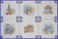 Fliesen Delfer Art, blau/weiß 15x15 Fliesen 6er Set, Küchenfliesen Pilzkorb Wein