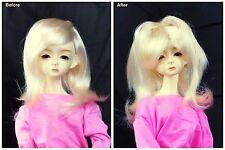 "1/3 8-9"" BJD SD DZ DOD LUTS Recurlable Doll Wig Blonde Medium Straight w/ Bangs"