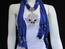 WOMEN SOFT BLUE FABRIC FASHION SCARF NECKLACE SILVER FLOWERS BUTTERFLY PENDANT