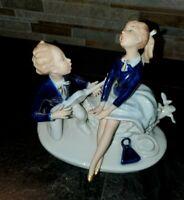 Vintage Wallendorf Cobalt Figurine Young Pair with Guitar #1651
