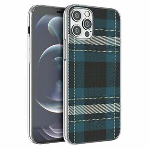 For iPhone 12 & 12 Pro Silicone Case Tartan Plaid Pattern - S5608