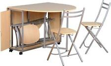 BUDGET BUTTERFLY DINING SET BEECH & SILVER TABLE & 4 FOLDING CHAIRS NEW