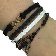 (B7) Vintage handgemaakte Infinity 8 Eiffeltoren lederen armband armband