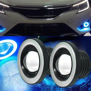 2x Ice Blue COB LED Fog Light Projector Halo Angel Eyes Ring Car DRL Lamp Bulbs