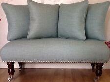 Long Footstool Stool & 4 Cushions In Laura Ashley Dalton Duck Egg Blue Fabric
