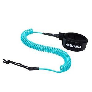 AQUARM SUP Leash 11 Foot Coiled Stand Up Paddle Board Leash Stay on Turquoise