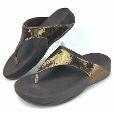 Fit Flop Women Size 7 Thong Sandals Shoes Gold Sequin Sparkle Decoration 034-012