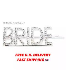 Bride Diamante Crystal Hair Pin Slide Bridal Hen Party Bachelorette Hen Do Clip
