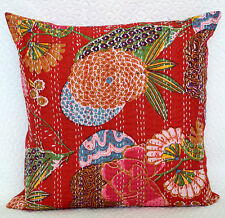 Red Floral Kantha Cushion Cover Pillow Case Bohemian Cotton Indian Bed Throw 16""