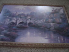 "Thomas Kinkade Cobblestone Brooke 24""x36"" S/N Lithograph with Frame/Glass"