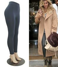 Gray Fleece Lined Womens Leggings Winter Celeb Celebrity Style Thick One Size