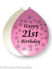 """10 x 11"""" Blanco/Rosa Globos estampado Happy 21st Cumpleaños"""