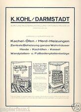 Kohl Kachelöfen Darmstadt XL Reklame 1926 Herd Küche Kachelofen Ofenbau Ofen