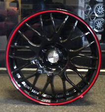 """15"""" CALIBRE ALLOY WHEELS BLACK/RED TO FIT VAUXHALL CORSA MERIVA"""