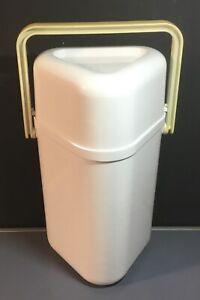 Crate & Barrel 3-Bottle Wine Cooler Carrier White w/Tan Color Handle NO INSERT