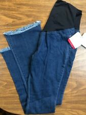 NWT Isabel Maternity Frayed Flare Jean Denim Pants w/ Back Crossover Panel Sz 4