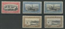 Falkland Islands 1933 Centenary 1d, 1 1/2d (poss shade); 2d with shade SG 128-30