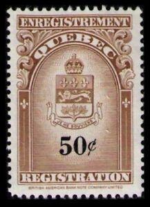 QUEBEC RARE 1962 50c #QR34 VF MINT NO GUM NH REGISTRATION STAMP CAT $9.00
