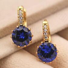 18K Gold Filled - 9mm Round Sapphire Topaz Flower Zircon Hoop Women Earrings DS