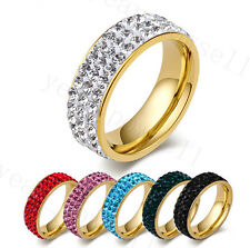 Lots 50X 8MM Cubic Zirconia 3Row CZ Inlay Stainless Steel Man/Lady 18K Gold Ring