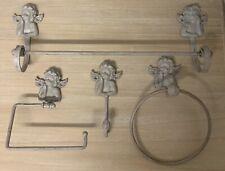 French Grey Bathroom Accessory Vintage Chic Cherub Angel Shabby Towel Rail Hook