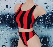 Vintage 2-PIECE Aerobics WORKOUT Outfit SET Red & Black SPANDEX Sz Large