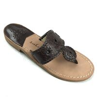 JACK ROGERS Willow thong sandals size 6 M brown leather open toe whipstitch