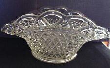 Vintage Hand Cut Glass Crystal Basket Pinwheel Design Bowl Dish Collectible