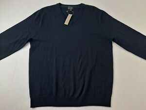 NEW J Crew Men L Washable Merino Wool V Neck Black Sweater Outdoor Casual W