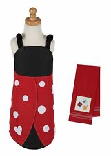 Chef Set for Kids - Red and Black Apron with Embroidered Kitchen Towel - Ladybug