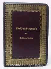 ARMIN KAUSEN Weihnachtsgrüsse 1891 German Christmas book FINE LEATHER BINDING