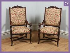 Antique paire deux française de 2 noyer tapisserie bibliothèque hall fauteuils chaises c.1840