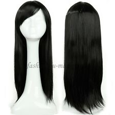 Fashion Womens Wig Cosplay Full Wigs Fancy Dress Massive Hair Dark Medium Brown