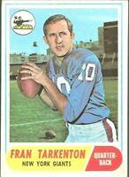 1968 Topps #161 Fran Tarkenton New York Giants Football Card