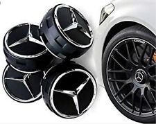 4x MERCEDES AMG BLACK WHEEL CENTER CAPS 75MM FITS A B C E M A45 CLASS C63 E63 uk