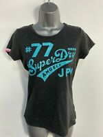 WOMENS SUPERDRY SMALL S DARK GREY/BLUE LOGO FRONT CREW NECK CASUAL T SHIRT TOP