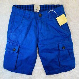 New Boy's 9Y Mini Boden Blue Cargo Shorts Linen Blend w/Adjustable Waistband
