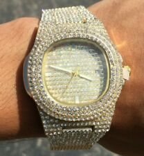 Hip Hop Iced Watch Gold Plated Pave Bling Rapper Lab Diamond Metal Band Heavy