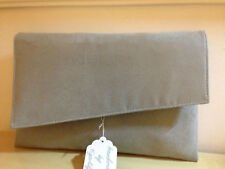 EXTRA LARGE GREY faux leather asymetrical clutch bag, fully lined BN .UK made