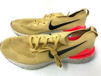 Nike Mens US 10.5 GOLD Epic React Flyknit 2 Low Top Lace Up Running Sneakers