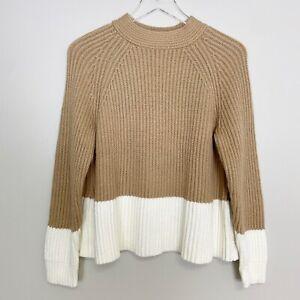 NWT Banana RepublicChunky Color Block Sweater Tan Camel Cream Petite Large PL
