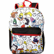 "Snoopy Peanuts Charlie Brown & Gang 16"" Backpack All Over Print Bag Girls Boys"