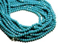 Fil 39cm 90pc env - Perles Verre opaque - Rondelles Facettées 6x4.5mm Bleu Paon