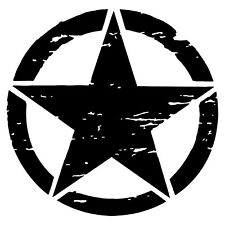 DISTRESSED ARMY STAR MILITARY JEEP 10 YEAR PREMIUM VINYL DECAL/STICKER 3-22in