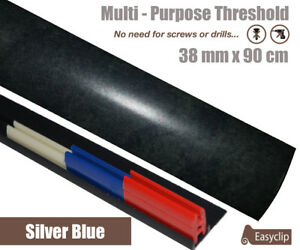 Silver Blue Laminate Transition Strip 38mm x90cm Multi-Height and Pivot Easyclip