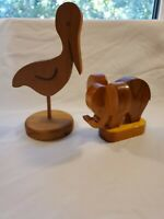 Vintage Wooden Pelican And Elephant  ( Lot Of 2)