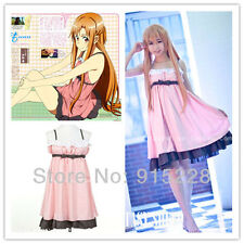 Sword Art Online Cosplay Costumes Yuuki Asuna アスナ Pajamas dress * Custom made